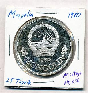 1980 Mongolia 25 Tugrik 92.5% Proof Silver Coin