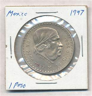 1947 Mexico 1 Peso 50% Silver Coin