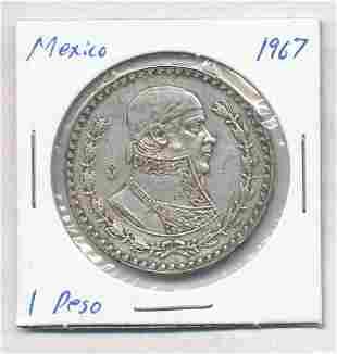 1967 Mexico 1 Peso 10% Silver Coin