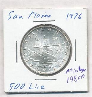 1976 San Marino 500 Lire 83.5% Silver Coin