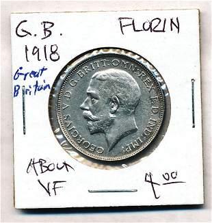 1918 Great Britain 1 Florin 92.5% Silver Coin