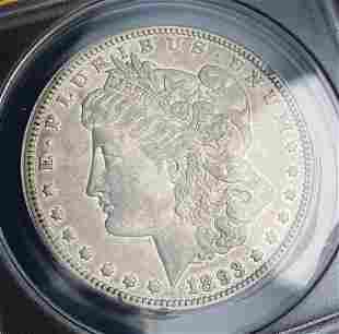 Rare Double Stars 1893 Morgan Silver Dollar ANACS XF45