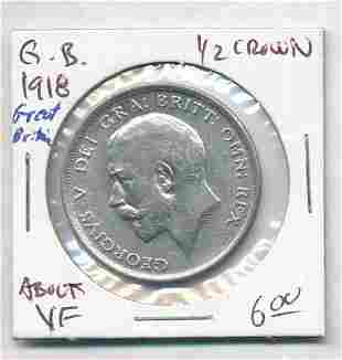 1918 Great Britain 1/2 Crown 92.5% Silver Coin