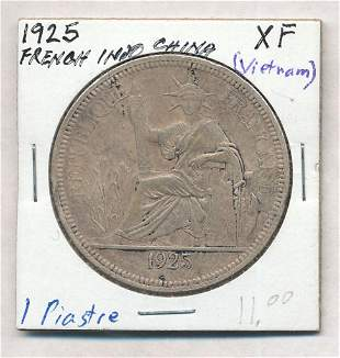 1925 French Indo China 1 Piastre 90% Silver Coin