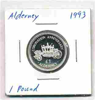 1993 Alderney 1 Pound 92.5% Proof Silver Coin