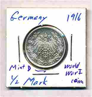 1916 Germany 1/2 Mark 90% Silver Coin