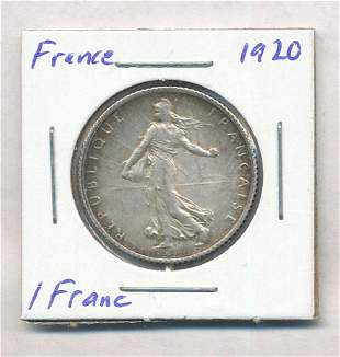 1920 France 1 Franc 83.5% Silver Coin