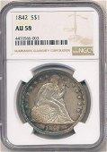 1842 Liberty Seated Silver Dollar NGC AU58