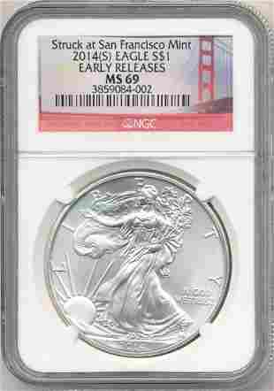 2014-S American Silver Eagle Early Release NGC MS69