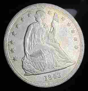 Stunning Gem Almost Mint 1843 Seated Dollar
