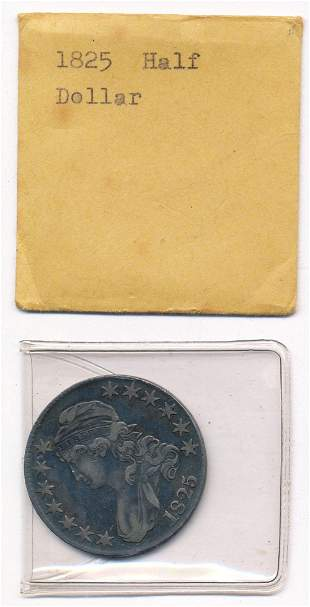 1825 Capped Bust Half Dollar 89.2% Silver