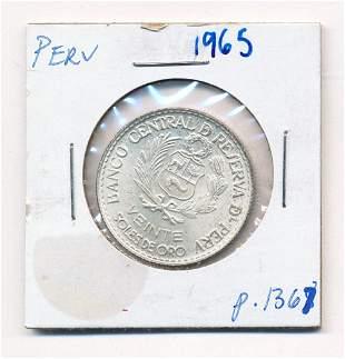 1965 Peru Banco Central 90% Silver Coin