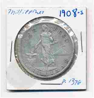 1908-S Philippines One Peso 80% Silver Coin