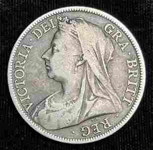 1895 Great Britain Half Crown 92.5% Silver
