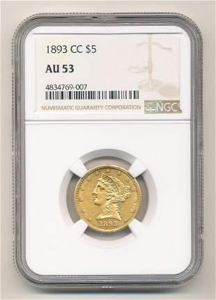 1893-CC Carson City $5 Liberty Gold NGC AU53