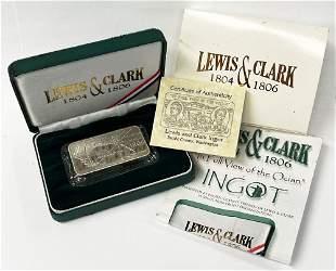 Rare Lewis & Clark 5 oz Silver Ingot Box & COA