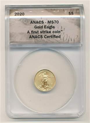 2020 1/10 oz $5 Gold Eagle ANACS MS70 First Strike
