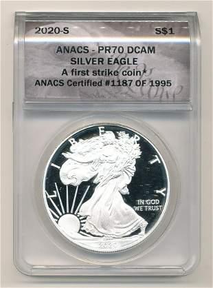 2020-S American Eagle ANACS PR70 DCAM First Strike