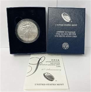 2016-W US Mint UNC 1 oz American Eagle Silver Dollar