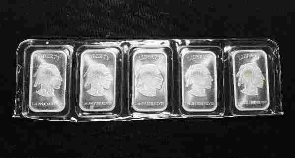 (5) 1 oz Buffalo .999 Silver Bars