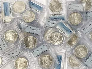 (100) Mixed Date & MM PCGS MS65 Morgan Silver Dollars