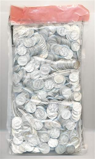 Sealed Evidence Bag Mercury Silver Dimes $100 Face