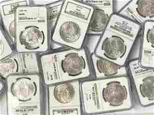 (100) Mixed Date & MM NGC MS65 Morgan Silver Dollars