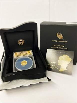 2016 Mercury Dime Centennial Gold Coin