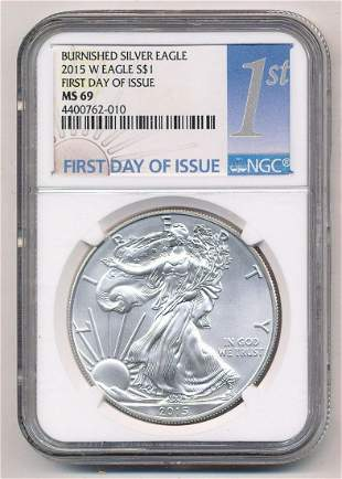 2015-W Burnished American Silver Eagle 1st Day NGC MS69