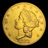 "Rare Date 1873-S Open ""3"" $20 Liberty Head Gold"