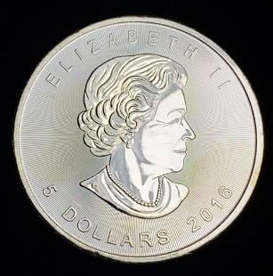 2016 $5 Canadian Silver Maple Leaf