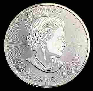 2015 $5 Canadian Maple 1 oz Silver