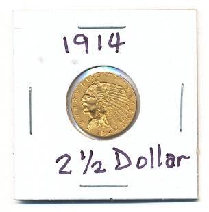 1914 Indian Head Quarter Eagle 2½ Dollars Gold
