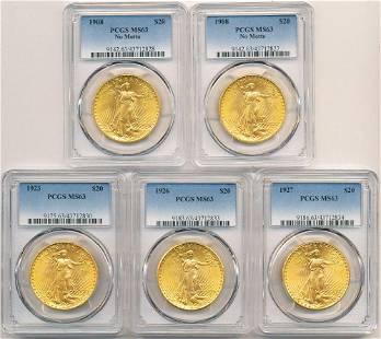 (5) $20 Gold Saint Gaudens PCGS MS63 1908-1927