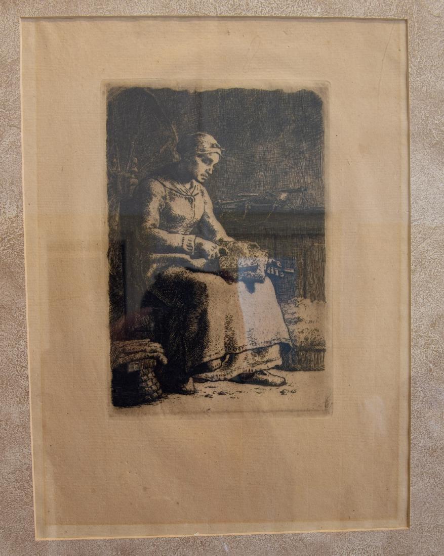 J.F. Millet Etching. La Cardeuse.