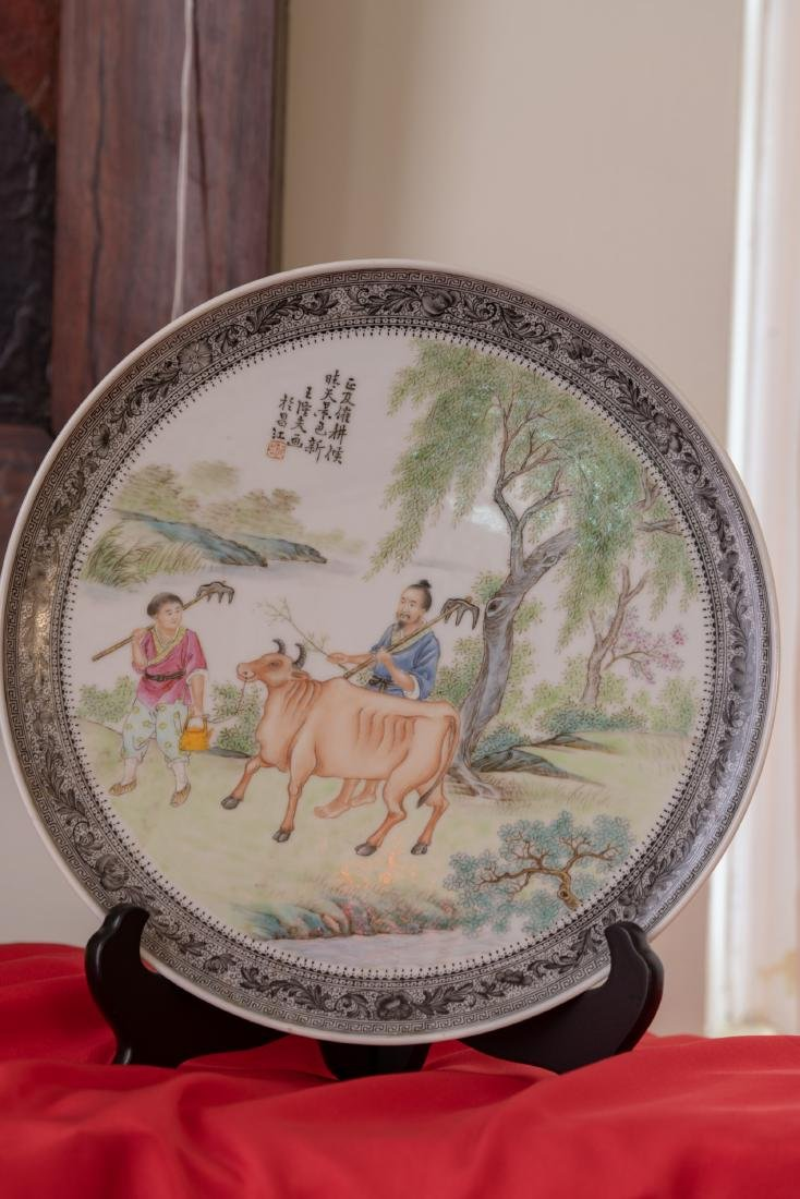 A Chinese Hand Painted Porcelain Plate by Wang Longfu