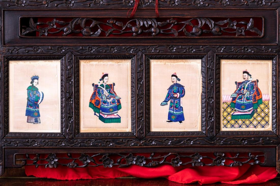 Four China Trade Export Painting, Water Color Figures