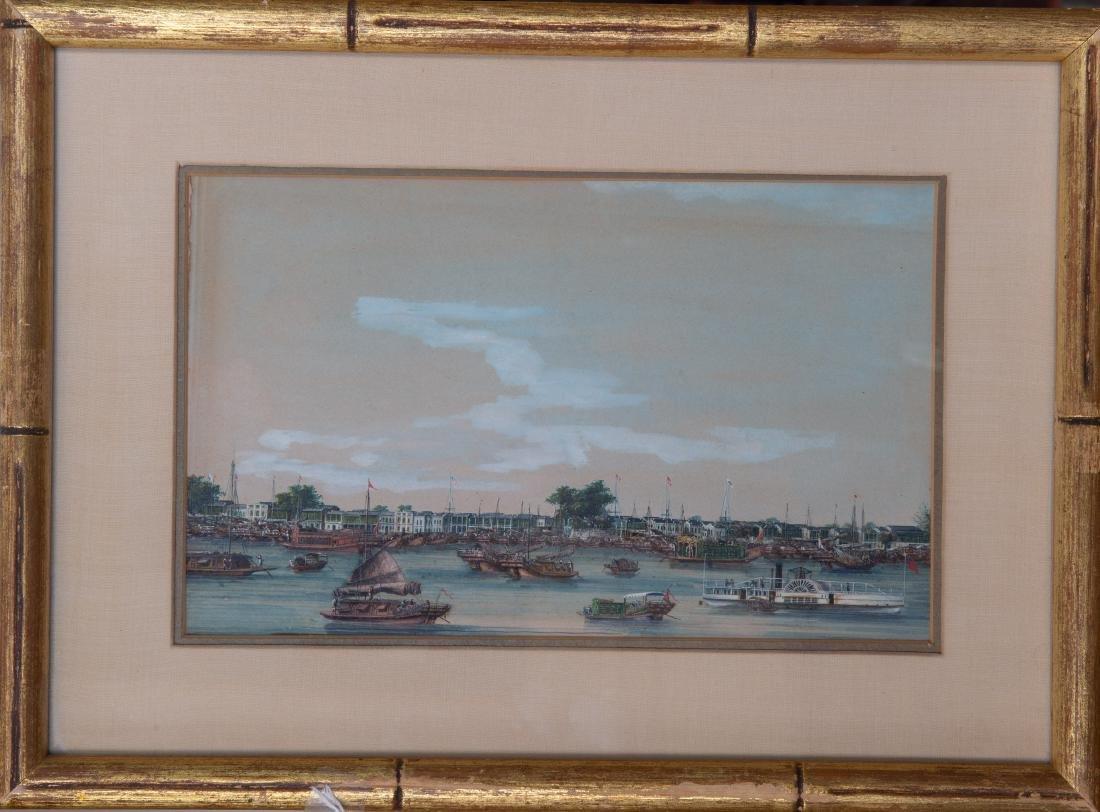 Important China Trade Export Watercolor of Hongs