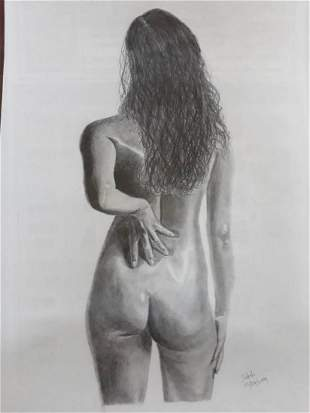Female Back Nude-3  - Handpainted Art Painting - 23in X