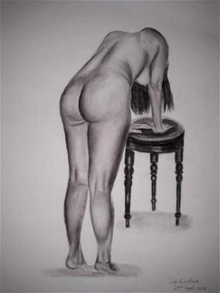 Female Back nude charcoal study-1  - Handpainted Art