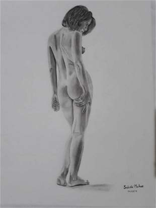 Female Back Nude-2  - Handpainted Art Painting - 23in X