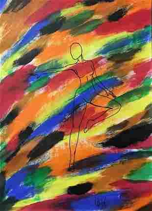 Free Dance   - Handpainted Art Painting - 12in X 17in