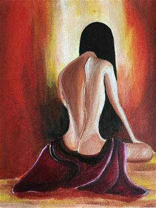 Female nude painting in morning light   - Handpainted