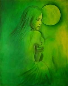 Romantic Girl With Nature Medium  - Handpainted Art