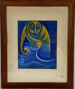 George Ratkai Owl Wash Watercolor