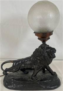 1930's Figural Lion Sculpture Lamp Spelter Metal