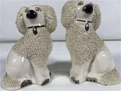 Rare Pair of Antique Old Staffordshire Dogs