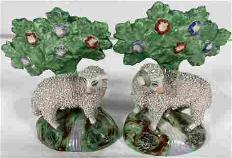 Pair of Antique Staffordshire Sheep & Ewe w/ Flowering