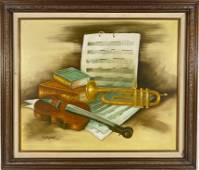 Trumpet and Violin Music Sheets Oil on Canvas