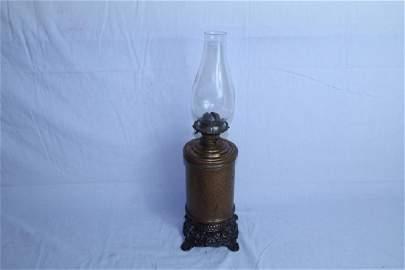 Round copper oil lamp